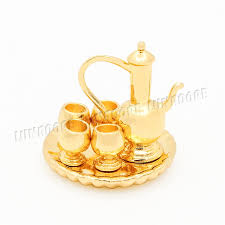 cuisine arabe 4 odoria 1 12 miniature en métal vintage arabe pichet avec 4 gobelets