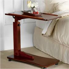 hospital bed tray table walnut bedside rolling work table hospital bed tray laptop desk wood