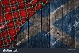 Tartan Tartan Textile On Wooden Background Scotland Stock Illustration