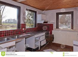 kitchen an old dutch farm partly demolished stock photography