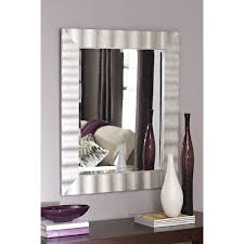 Bedroom Wall Mirrors With Lights Shop Allen Roth 30 In X 36 In Silver Leaf Beveled Rectangle