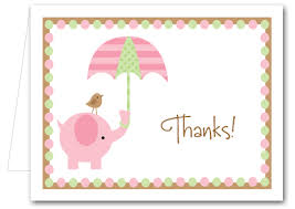 baby shower thank you cards pink elephant baby shower folded note cards thank you notes