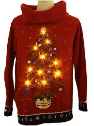 Ugly Christmas Sweater With Lights Womens Oversized Slouch Fit Ugly Lightup Christmas Cocktail