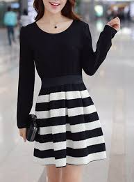 white striped skater dress flared skirt belt long sleeve
