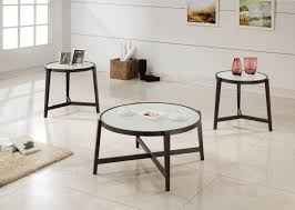espresso u0026 frosted glass 3 pc occasional table set caravana