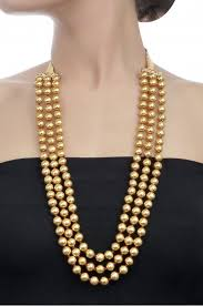 round bead necklace images Gold plated three layer round bead necklace jpg