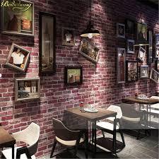wallpaper design batu bata beibehang retro nostalgia 3d stereo bata wallpaper cafe bar restoran