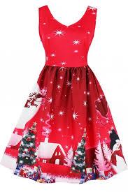 red reindeer snowflake print sleeveless christmas vintage pin up