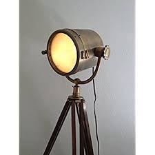 brown antique rustic nautical searchlight with tripod floor l