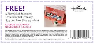 hallmark coupon for free mini snowmen ornaments with purchase