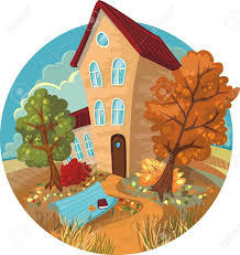 a cute little house autumn trees and benches in a circle royalty