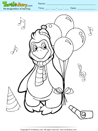 penguin with balloon coloring sheet turtle diary