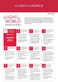 light the world day of service and calendar capturing with