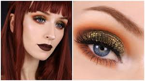 fall makeup grwm green and orange glittery eyes brown lips