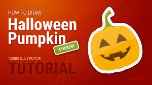 how to draw halloween pumpkin sticker easy in adobe illustrator