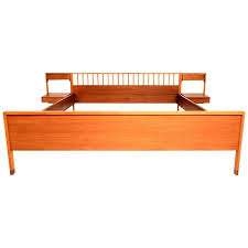 italian mid century modern bed with floating nightstands for sale