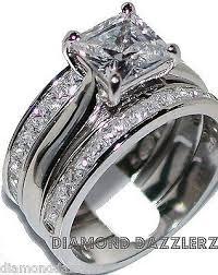 wedding set princess cut diamond engagement ring 3 band wedding set sz 7