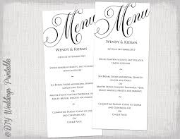 wedding menu templates menu template black and white wedding menu diy wedding menu