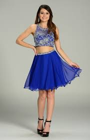 royal blue beaded bodice 2 piece short prom dress pol 7097