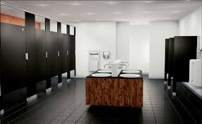 modern office bathroom fusion granite and stainless steel partitions commercial