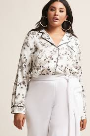 forever 21 white blouse plus size satin floral pajama inspired shirt forever 21 plus