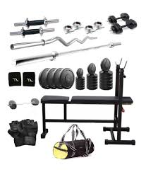 total gym 50 kg home gym set with 2 dumbbell rods 2 rods 3 in 1