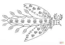 sun bird by maria prymachenko coloring page free printable
