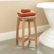 bathroom teak stool signature hardware terrel round teak shower stool