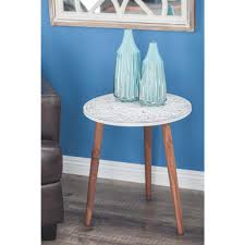Blue Accent Table Table Remarkable Brown And White Carved Wood Round Accent Table