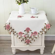 embroidered pink daisy floral decor tablecloth square 85x85cm
