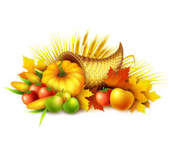 illustration of a thanksgiving cornucopia of harvest fruits