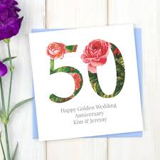 50 wedding anniversary personalised golden 50th wedding anniversary card by chi chi moi