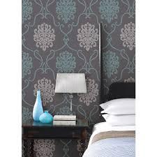 suzette aqua modern damask wallpaper dl30443 the home depot