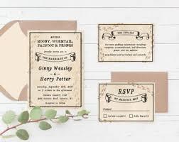 harry potter wedding invitations marauders map wedding invitation etsy