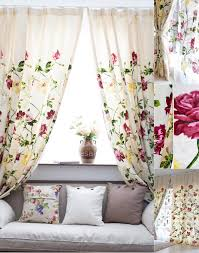 Floral Curtains And Jacquard Flower Pattern Ivory Chenille Floral Curtains
