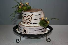 carved bridal burch tree bridal shower cake with there initials carved into it