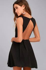 backless dress chic skater dress black dress backless dress lbd