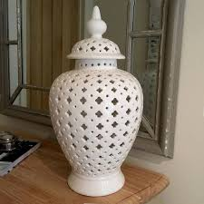 white ginger jar large white temple jar with cut out detail ginger jar cowshed