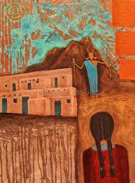 Adobe House by Daily Painters Abstract Gallery Original Abstract Mixed Media