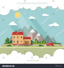 summer landscape red car vacation home stock vector 327148475
