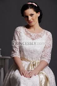 t length wedding dresses a line scoop neck half sleeves layered lace tea length wedding