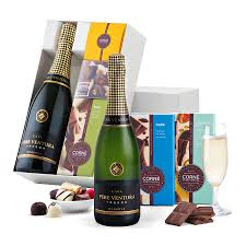 Wine And Chocolate Gift Basket Cava Pere Ventura U0026 Corné Port Royal Chocolates Delivery In