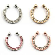 aliexpress nose rings images New fashion crystal fake nose rings and studs fake septum clip on jpg