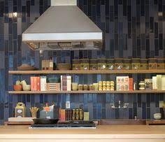 Blue Backsplash Tile by Floating Shelves And Vertical Tile Backsplash At Heath Ceramics