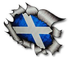 Scottish County Flags Ripped Torn Metal Design With Scotland Scottish Saltire Motif