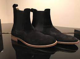handmade mens black chelsea boot men black suede leather boot