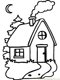 simple single home coloring page free houses coloring pages