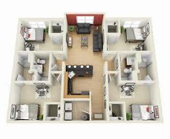 4 bedroom flat house plans 6826