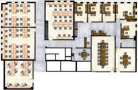 Hand Rendered Floor Plan Office Planning