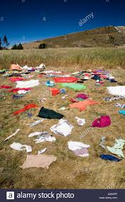 Clothes Drying On The Grass In Quilotoa Ecuador Stock Photo